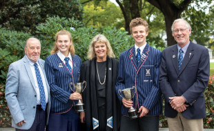 Sponsor, Rob Bruce Barron (OC 1953), Emily Tyrrell (Year 12), Rector Christine Leighton, Omri Kepes (Year 12) and Roland Burrows, who co-ordinates the scholarship.